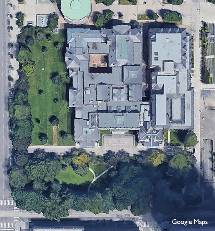 <p>Aerial view of Osgoode Hall and its grounds.</p>