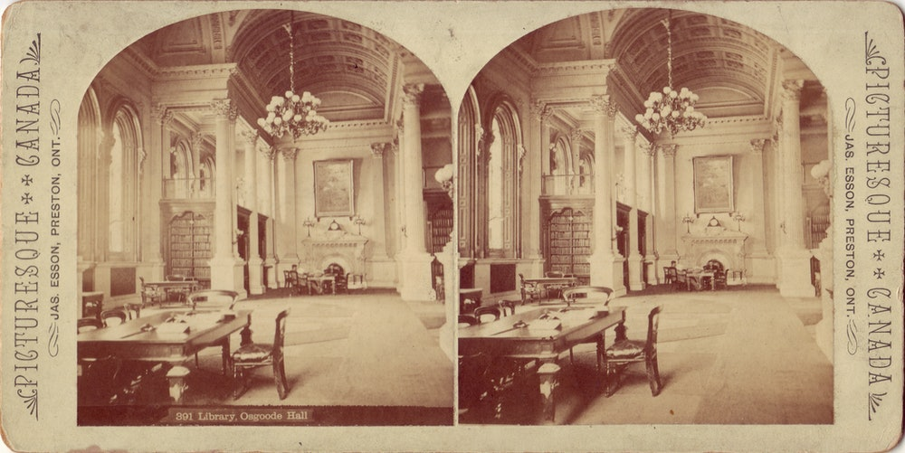 <p>The first portrait of the Law Society collection can be seen in this photograph of the Great Library between 1875 and 1888</p>