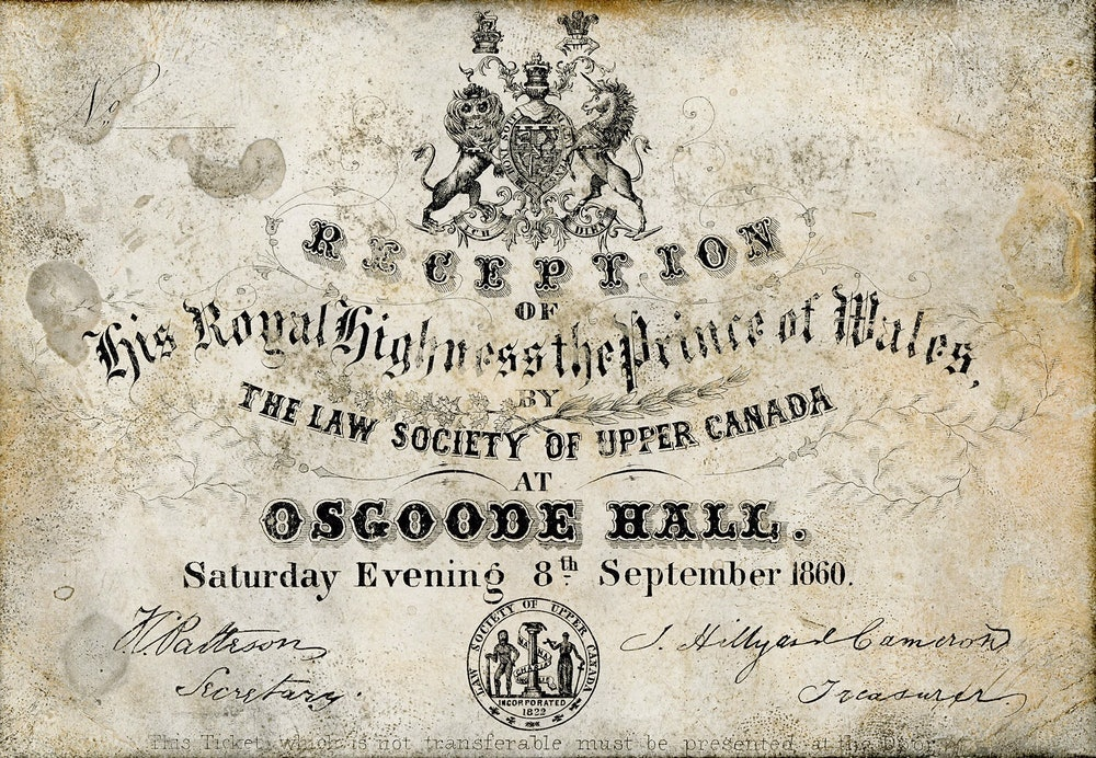 <p>The official opening of the centre part of Osgoode Hall by the Prince of Wales in 1860 was also the occasion of the unveiling of two portraits. Invitation to the Reception for HRH the Prince of Wales at Osgoode Hall, 1860</p>
