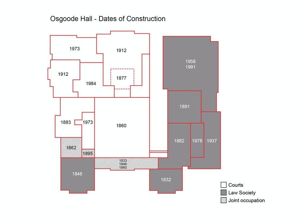 <p>The evolution of Osgoode Hall.</p>
