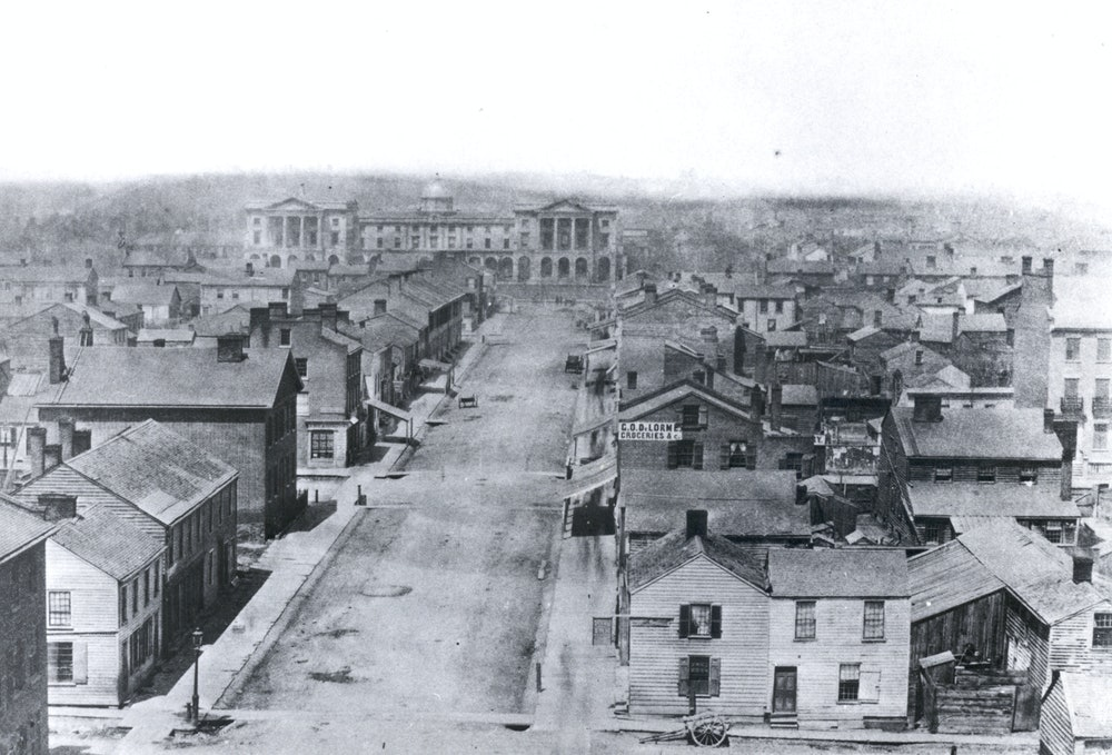 <p>Osgoode Hall at the end of York Street in 1856.</p>