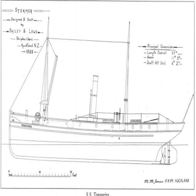 <p>A sketch of the SS Tongariro, a two masted steam powered schooner.</p>