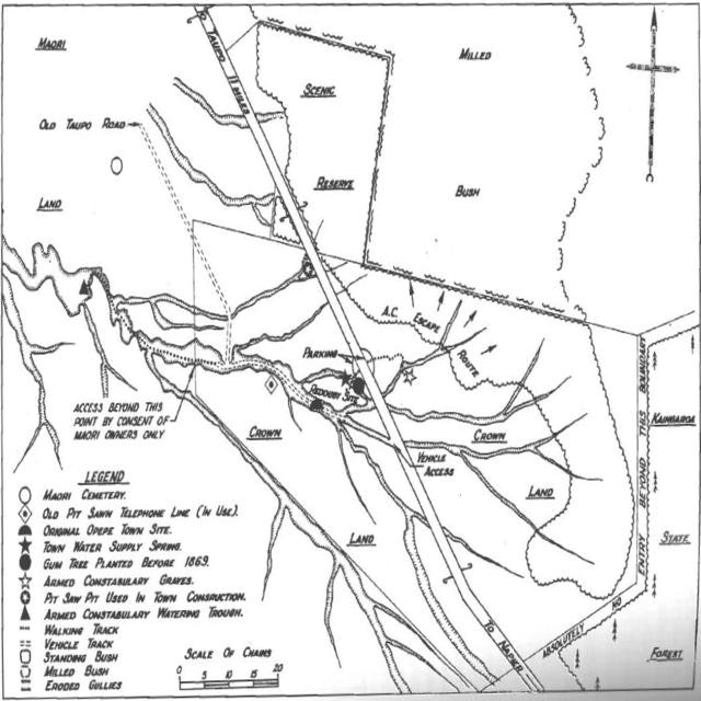 <p>Opepe Map drawn for the Taupō District Council.</p>