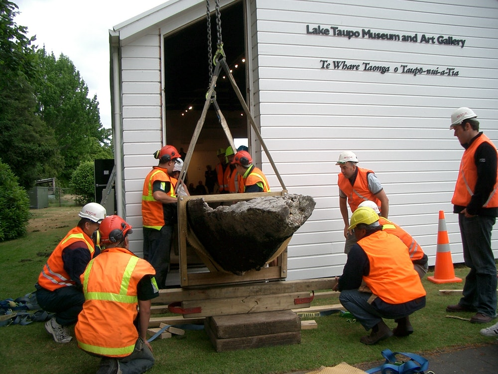 <p>The window is carefully removed before the waka is relocated inside </p>