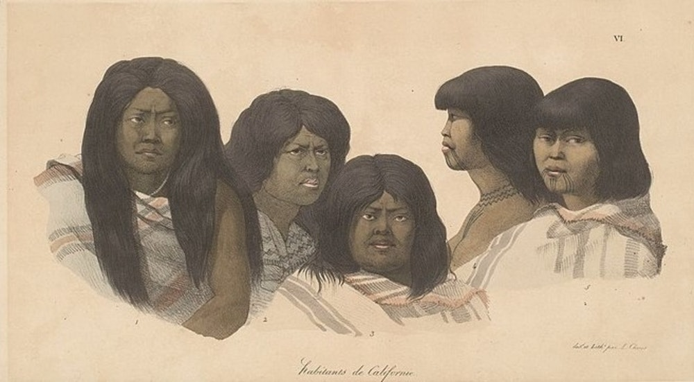 <p>Portraits of Ohlone Native Americans. Painted by Louis Choris, 1822.</p>