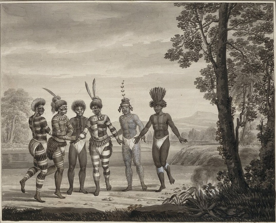 <p>Dance of the Ohlone Native Americans at Mission San Jose, California. Painted by Louis Choris, 1803.</p>