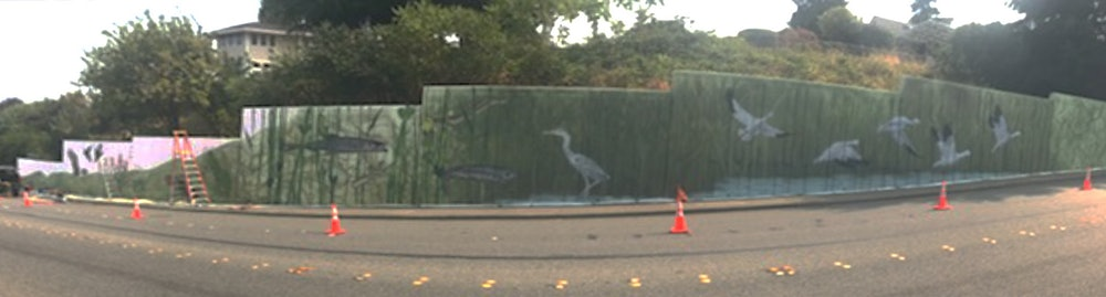 <p>The mural in progress</p>