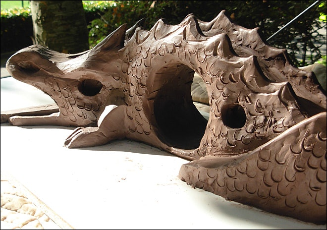<p>A clay sculpture of the new dragon</p>