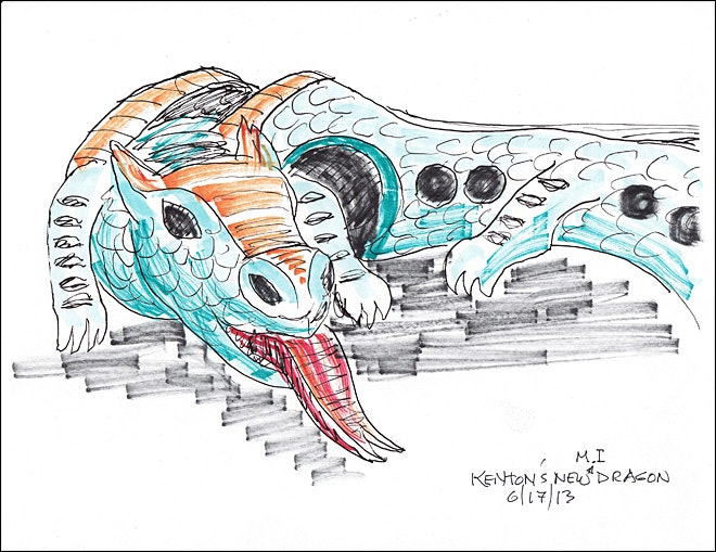 <p>A more detailed sketch of the new dragon</p>