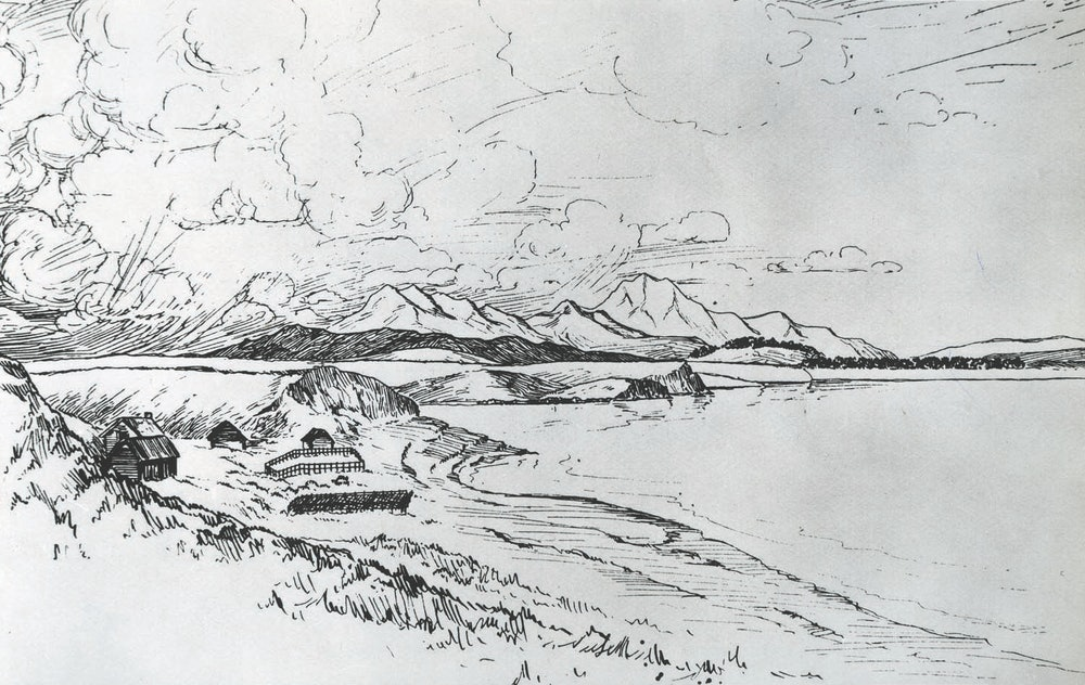 <p>Rhodes Cottage and adjacent buildings in 1853.</p>