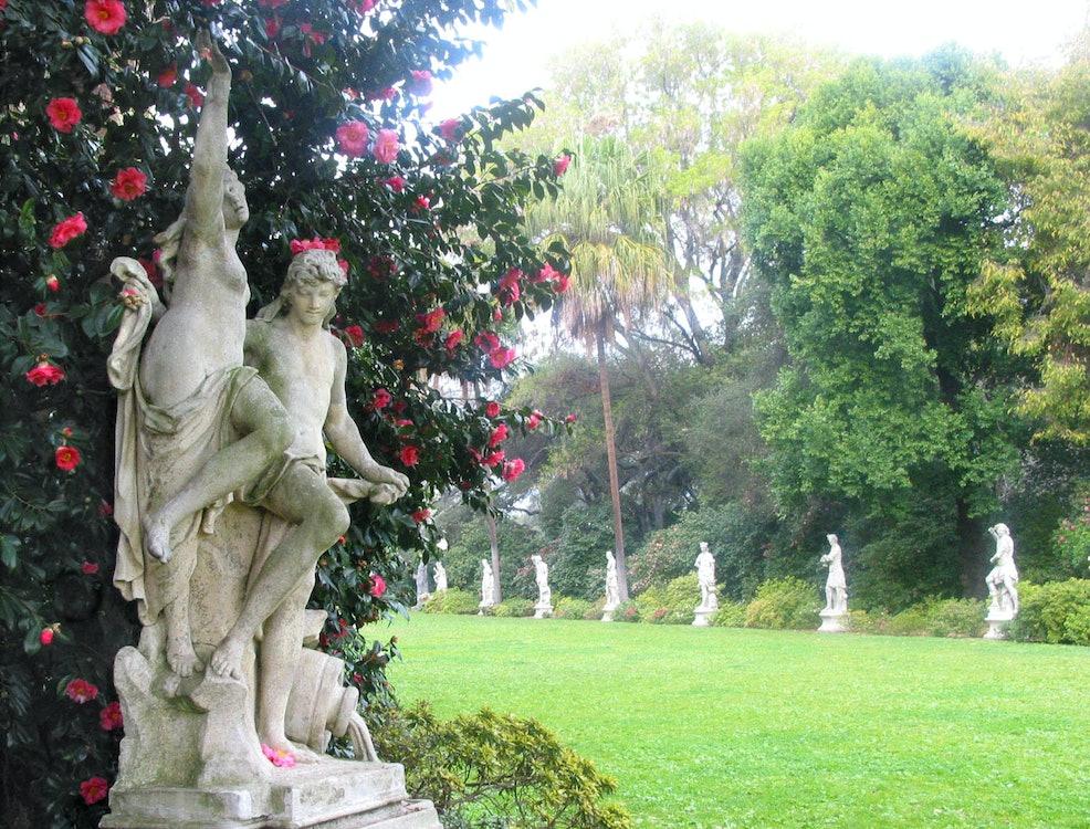 <p>Classical sculpture lines the North Vista Garden</p>