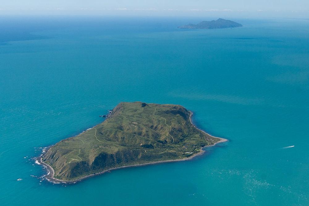<p>An aerial view of Mana and Kapiti Islands. Image courtesy of Aidan Wotjas, 2009.</p>