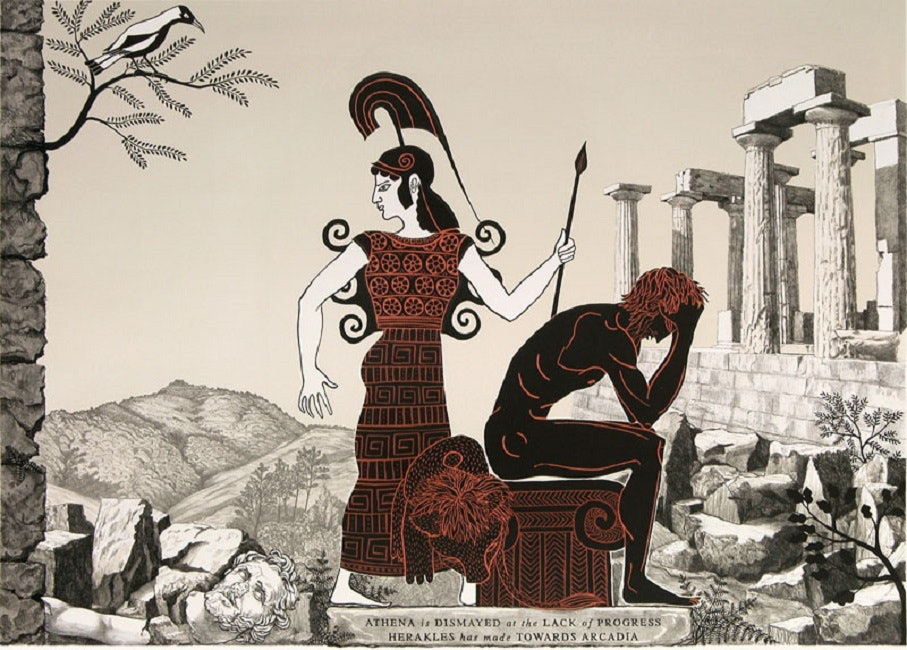 <p>Marion Maguire, <em>Herakles struggles with the taniwha, </em>plate 12 from<em> The Labours of Herakles</em>, 2007, colour lithograph, Victoria University of Wellington Art Collection, purchased 2010. Image courtesy of the Victoria University of Wellington Art Collection.</p>