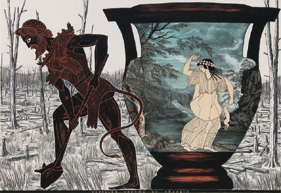 <p>Marion Maguire, <em>Herakles dreams of Arcadia, </em>plate 7 from<em> The Labours of Herakles</em>, 2007, colour lithograph, Victoria University of Wellington Art Collection, purchased 2010. Image courtesy of Victoria University of Wellington Art Collection. </p>