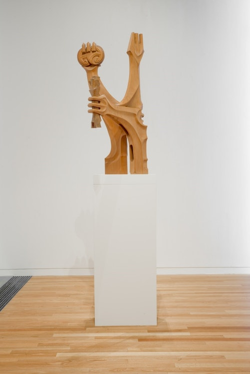 <p>Fred Graham (b.1928), <em>Tāne and Tūpai, </em>1975, kauri and totara, Victoria University of Wellington Art Collection, commissioned 1975</p>