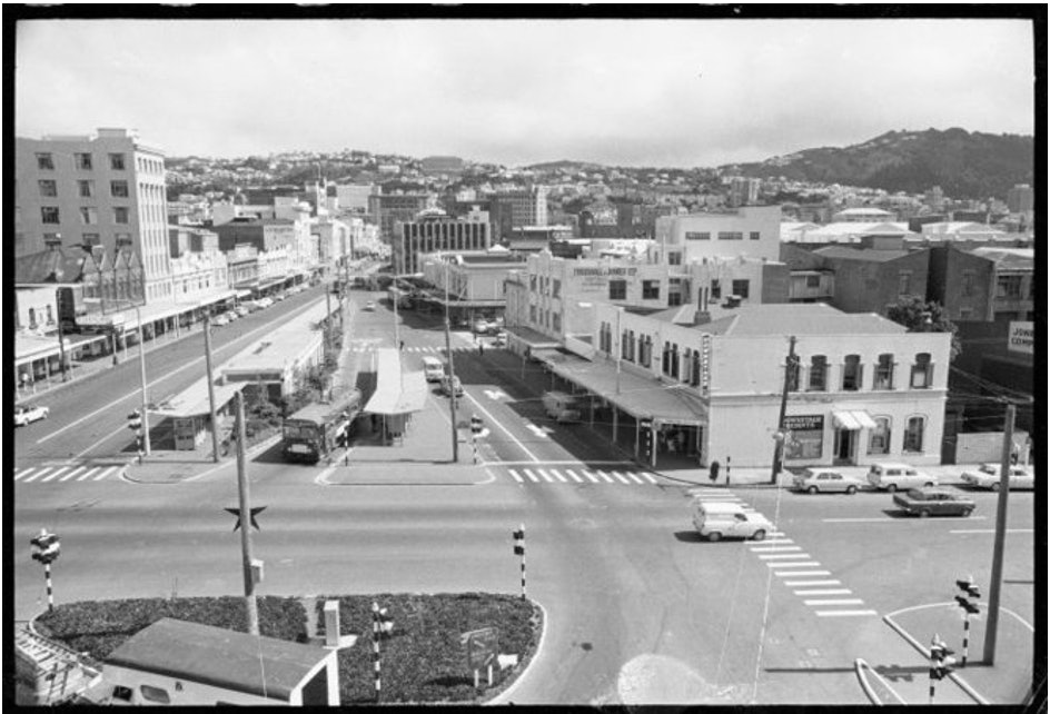 <p>The original Downstage Theatre,</p><p>Courtenay Place, Downstage Theatre, and Wellington looking west from the Embassy Theatre building in 1968.</p>