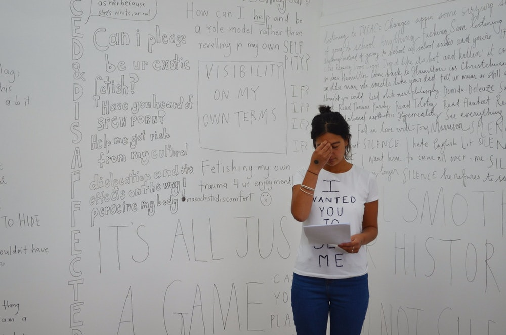 <p>Image from Faith's exhibition <em>Confessions of a Teenage Afakasi</em> at Blue Oyster in Dunedin. Photograph by Grace Chloe Ryder.</p>