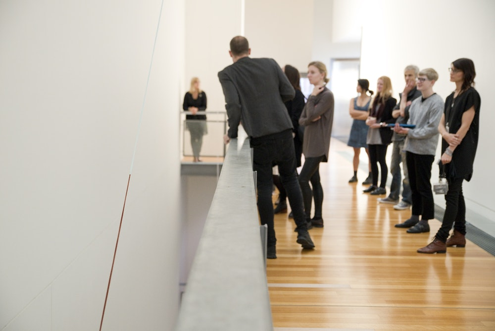<p>A guided tour for students at the Adam Art Gallery Te Pātaka Toi</p>
