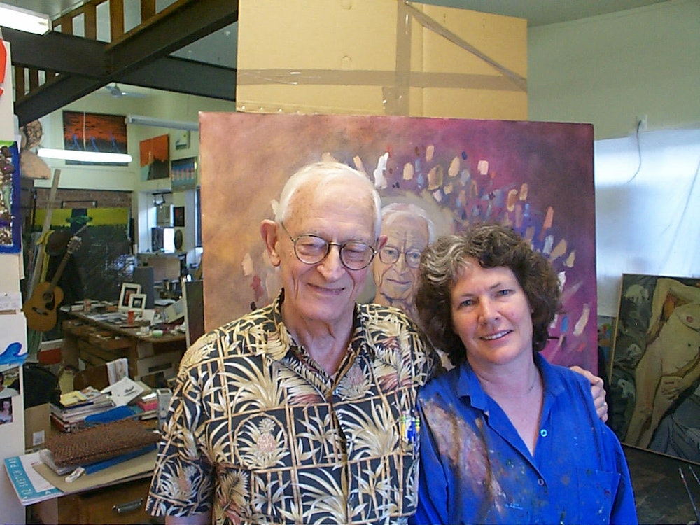 <p>The Scientist and the Artist. Behind the scenes images of Marianne's time painting the late Alan MacDiarmid. Images supplied by Marriane Muggeridge.</p>