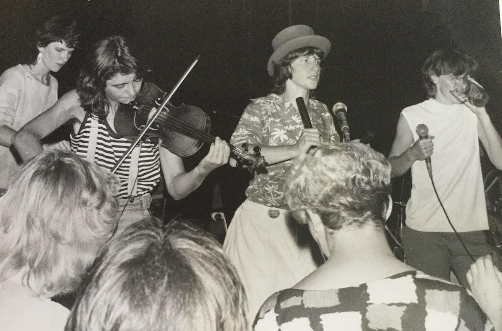 <p>Lisa Terreni on the far right in the band 'Freudian Slips' in the late '70s. Image source unknown. © Lisa Terreni</p>