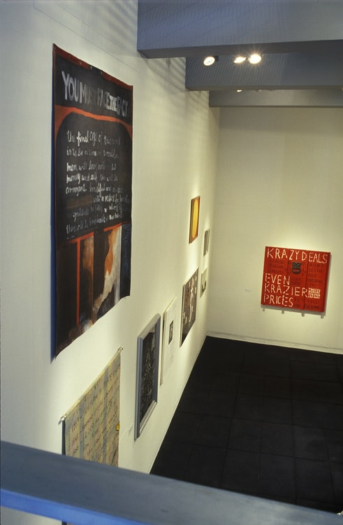 <p>A glimpse into the Adam Art Gallery's inaugural exhibition. <em>Manufacturing Meaning</em>. Image courtesy of the Adam Art Gallery. </p>