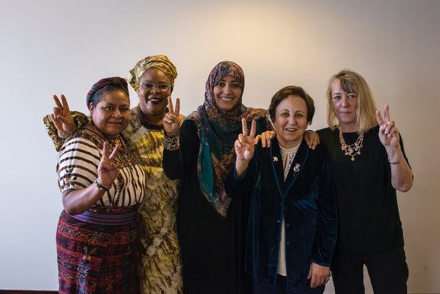 <p>Nobel Women's Initiative from right to left: Jody Williams (USA), Shirin Ebadi (Iran), Tawakkol Karman (Yemen), Leymah Gbowee (Liberia) and Rigoberta Menchú Tum (Guatemala) Credit: Nobel Women's Initiative</p>