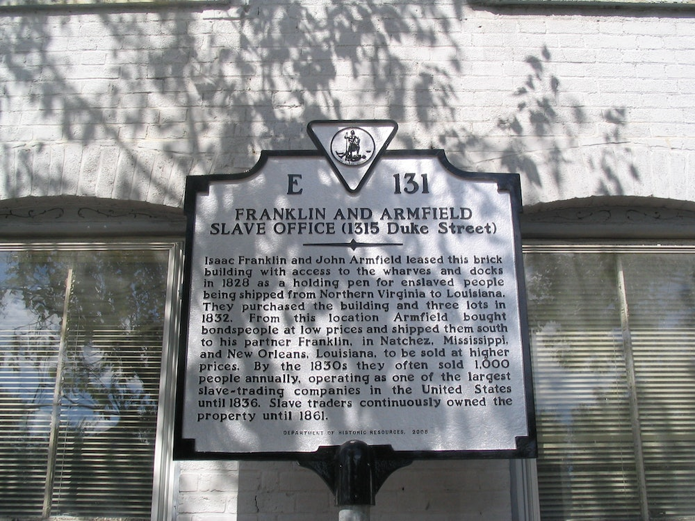 <p>Franklin and Armfield Slave Office Historical Marker</p>