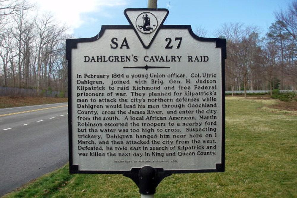 <p>Dahlgren's Cavalry Raid Historic Highway Marker</p>