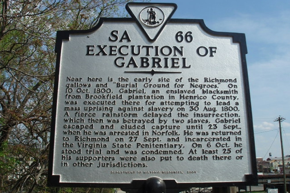 <p>Execution of Gabriel Historic Marker</p>