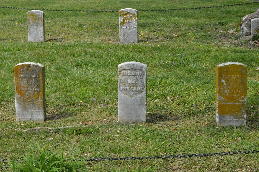 <p>Graves of black Union soldiers (USCT) from the American Civil War buried at West Point Cemetery in Norfolk, Virginia.</p>