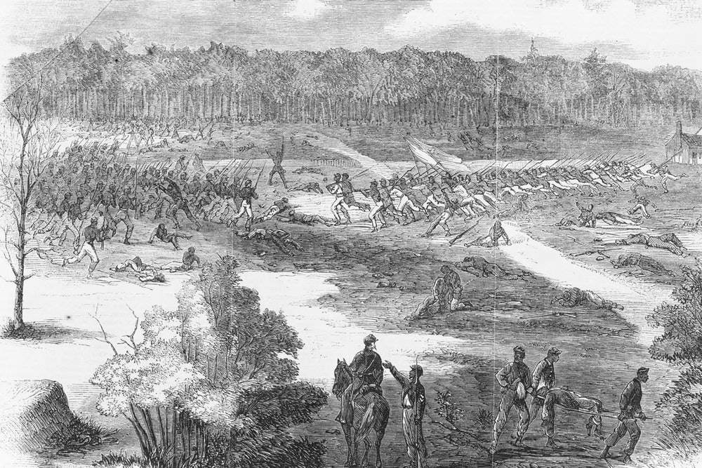 """<p>Edwin Forbes sketch entitled """"The war in Virginia - the 22nd Colored Regiment, Duncan's brigade, carrying the first line of Rebel works before Petersburg"""" </p>"""