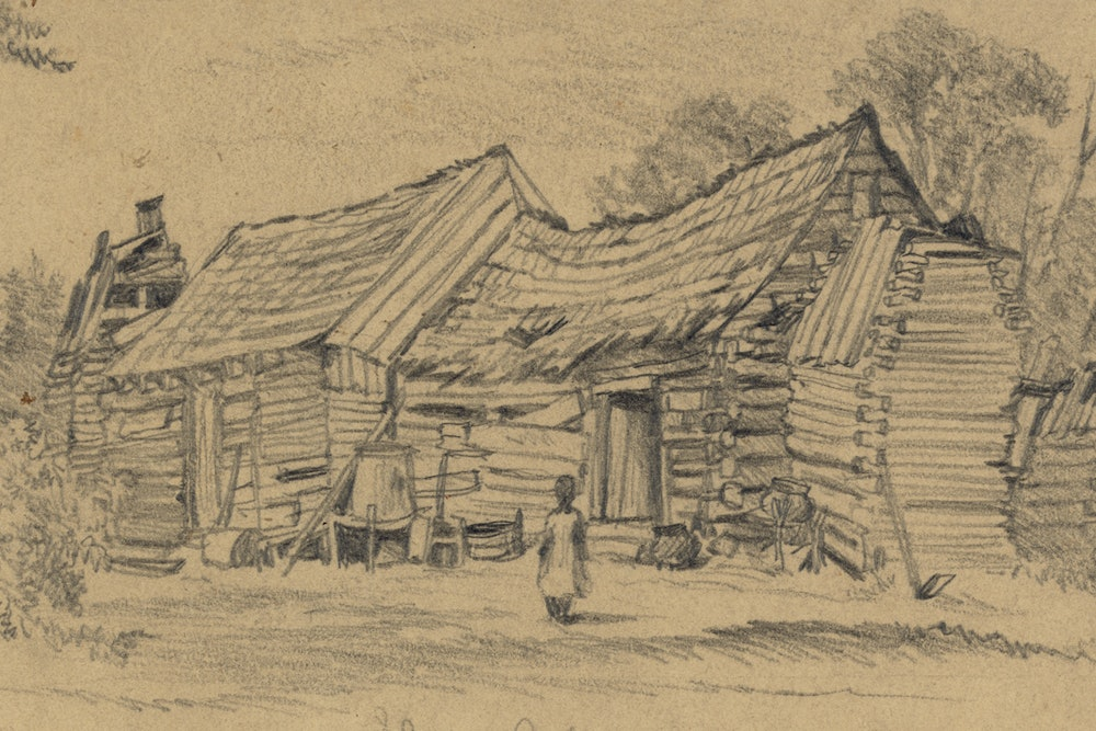 """<p>Edwin Forbes sketch entitled """"Slave cabin near the Long Bridge, Chicahominy River, Va., June 13th 1864""""</p>"""