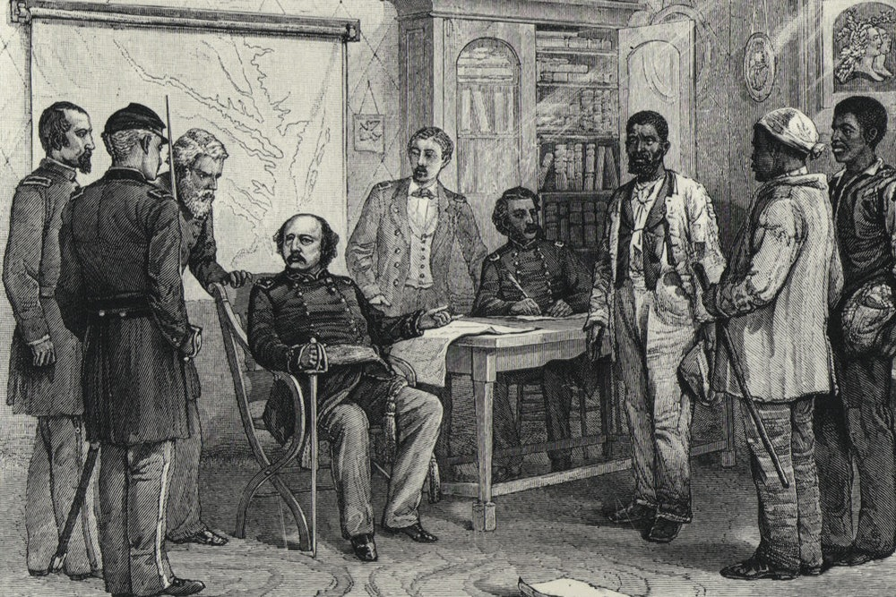 <p>Maj. Gen. Benjamin Butler meets with escaped slaves at Fort Monroe</p>