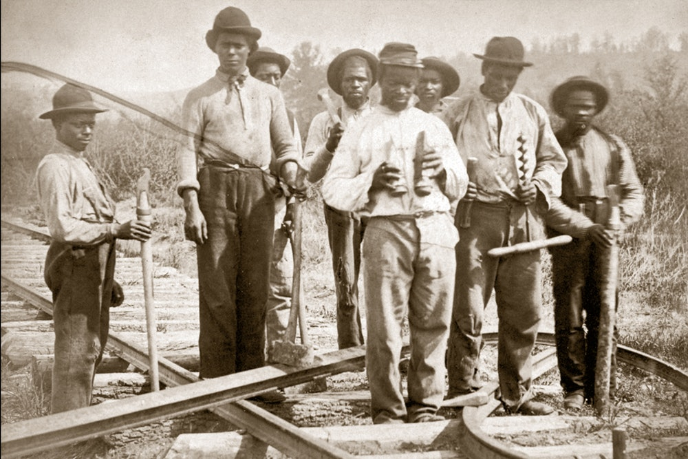 <p>Railroad track, including the track at Burke's Station, was periodically destroyed, and African Americans were employed to repair the track.</p>