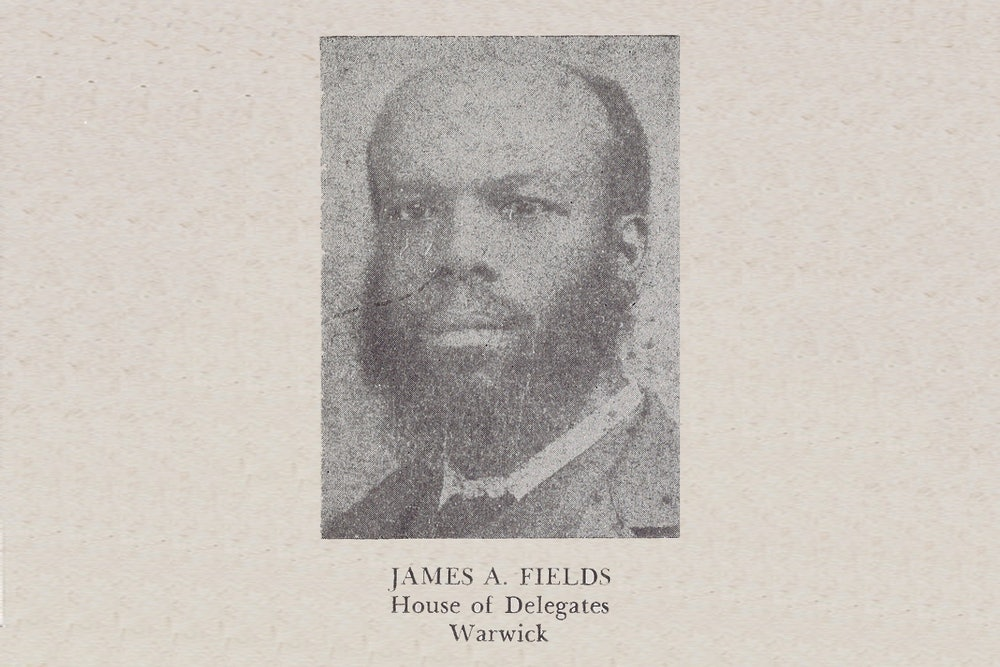 <p>James A. Fields, a member of the House of Delegates from the counties of Elizabeth City, James City, Warwick, and York and the city of Williamsburg, in a portrait from in Luther Porter Jackson's <em>Negro Office-Holders in Virginia, 1865–1895</em> (1945).</p>