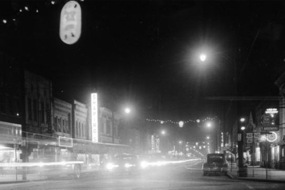 <p><strong>Streetscape, 25th St. and Jefferson Ave., ca. 1940s.</strong> James A. Fields first established his law office at this intersection in the heart of the Newport News African American community, before moving to the Fields House at 27th St. and Jefferson Ave. in 1897.</p>