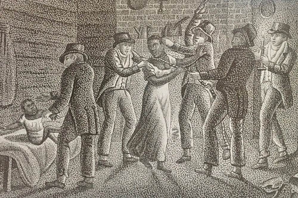 <p>lllustration by Alexander Rider from Jesse Torrey's <em>Portraiture of Domestic Slavery in the United States</em> (1817).</p>