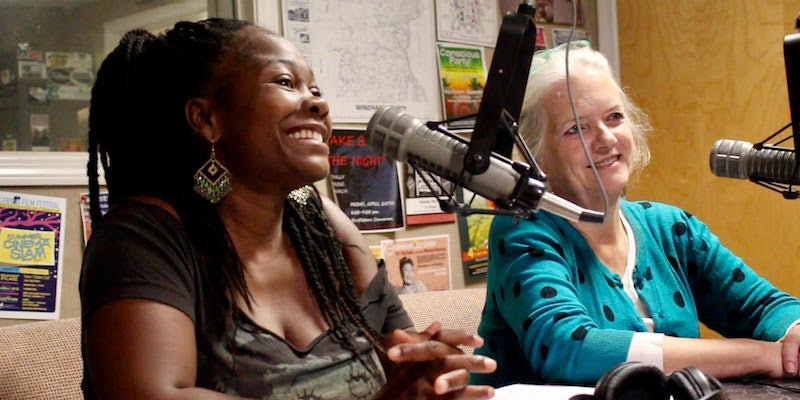 <p>Shanta Lee Gander and Stephanie Greene talking about MILES and Lucy Terry Prince</p>