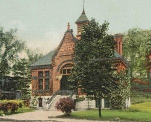 <p>Brooks Memorial Library, circa 1880's. Original Library located in what is now the post office parking lot</p>
