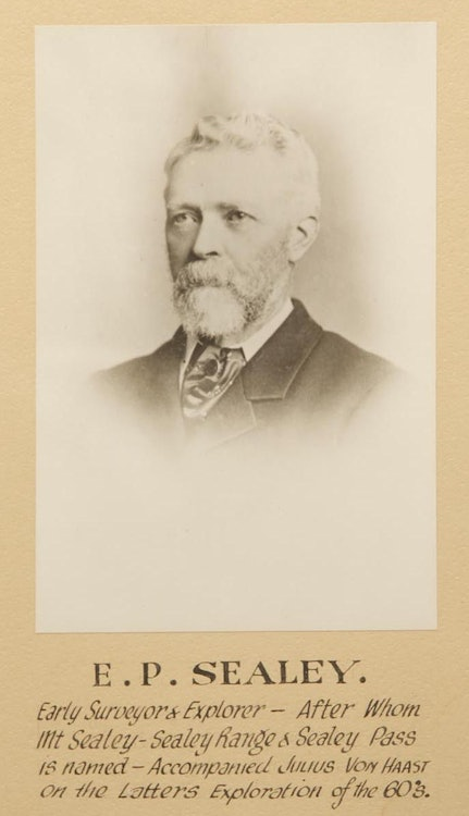 """<p>The legend beneath the image reads: """"E.P. Sealey. Early surveyor &amp; explorer - after whom Mt Sealey-Sealey Range &amp; Sealey Pass is named - Accompanied Julius Von Haast on the latters[sic] exploration of the 60's.""""</p>"""