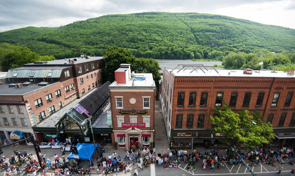 <p>Wantastiquet Mountain frames Downtown Brattleboro from across the River</p>