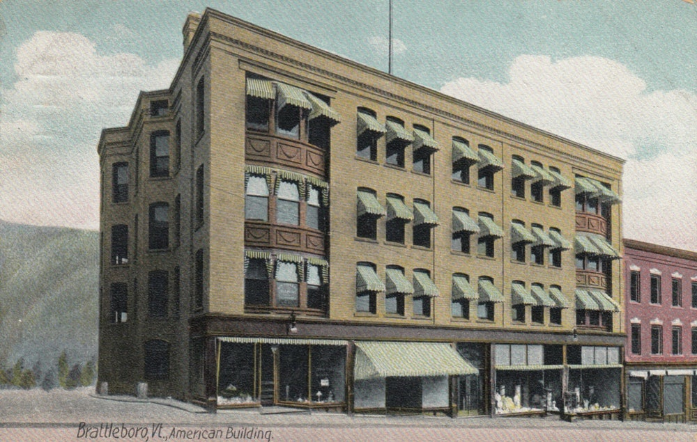 <p>American Building- Downtown Brattleboro- early 1900's A National Historic Place, part of the Brattleboro Historic District</p>