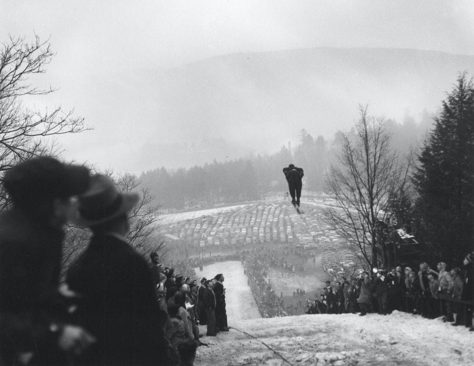 <p>Harris Hill jump - black and white</p>