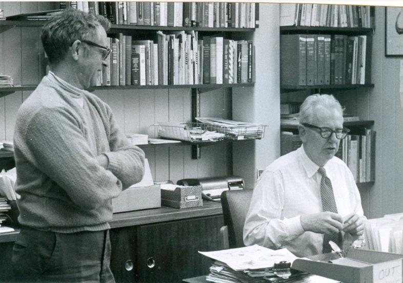 <p>Walter Hard Jr., editor of Vermont Life Magazine (left), and Stephen Greene. Photo: Janet Greene, Courtesy of the Greene family archive.</p>