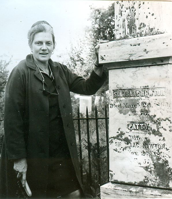 <p>Janet Greene at the grave of Sir Isaac Newton (a nineteenth-century Vermonter, not the seventeenth-century English polymath) and his wife, Patty, in Newfane, Vermont. (Photo by H. P. Coolidge; courtesy of the Greene family archive.)</p>