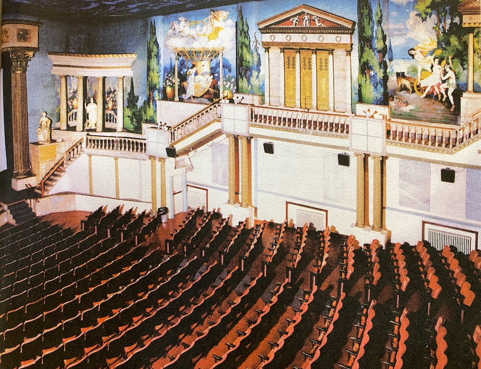 <p>The main theater showing murals depicting Greek myths. Courtesy: Latchis Arts</p>