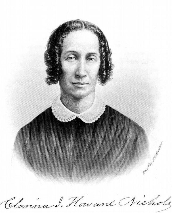 <p>Clarina Howard Nichols portrait Engraved by J. G. Butre from History of Woman Suffrage1881.jpg</p>