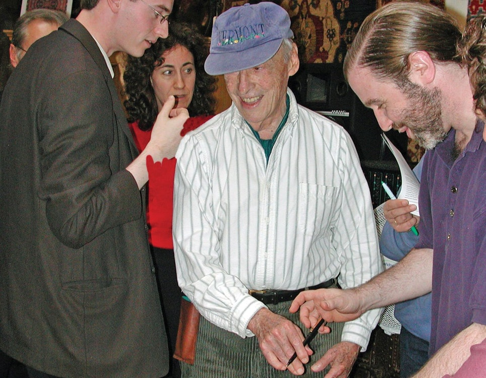 <p>Saul Bellow with wife Janice Freedman (background) in Brattleboro</p>