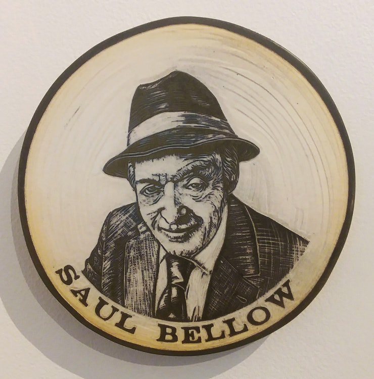 <p>Saul Bellow- portrait sculpted in clay by Cynthia Parker Houghton, commissioned for the Brattleboro Words Project and Words Trail</p>