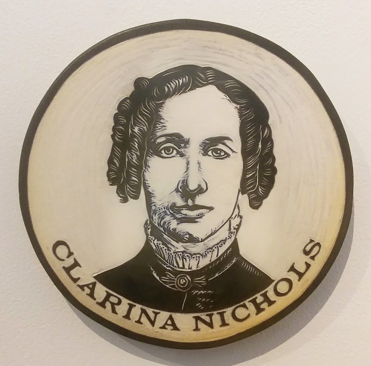 <p>Clarina Howard Nichols sculpted clay portrait by Cynthia Parker-Houghton, commissioned for the Brattleboro Words Project &amp; Brattleboro Words Trail</p>